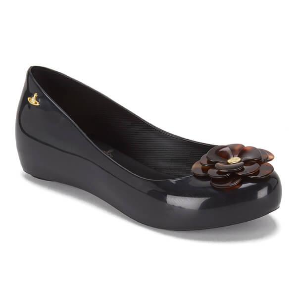 5256fc9028 Vivienne Westwood for Melissa Women's Ultragirl 15 Ballet Flats - Black  Tortoiseshell Flower: Image 5