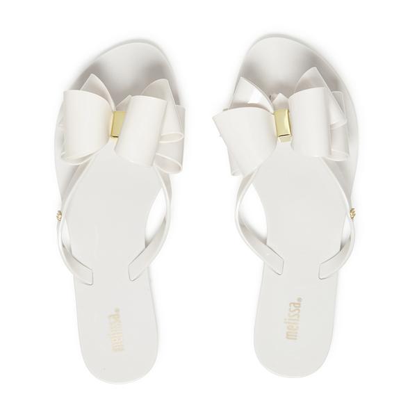 Melissa Women S Harmonic Twin Bow Flip Flops White