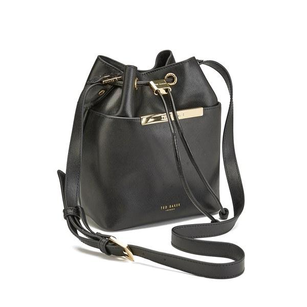 Ted Baker Women's Ersilda Pop Up Handle Leather Bucket Bag - Black: Image 2