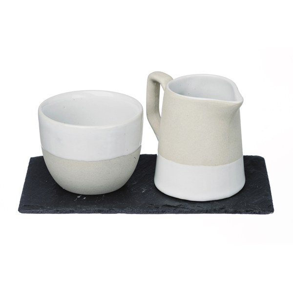 Just Slate Stoneware Milk and Sugar Set