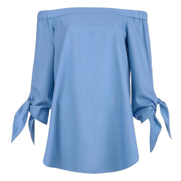 Tibi Women's Off Shoulder Tunic - Brilliant Denim