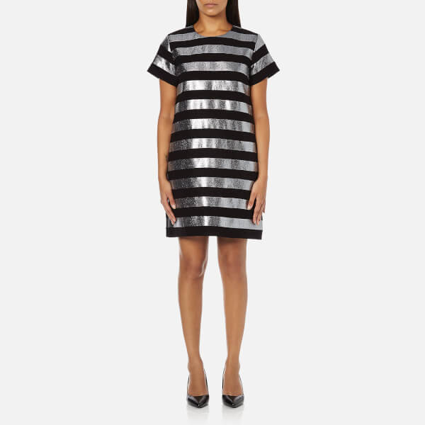 Marc by Marc Jacobs Women's Lame Stripe Dress - Black/Silver