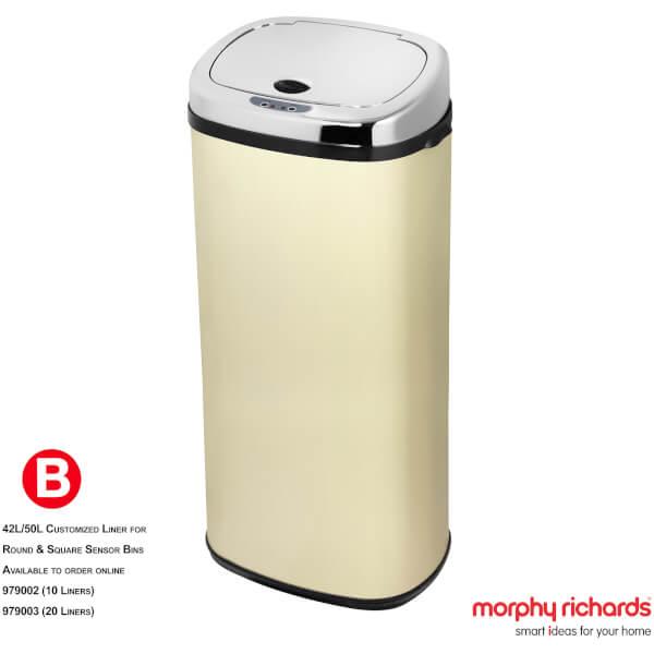 Morphy Richards 971518/MO 50L Square Sensor Bin - Cream