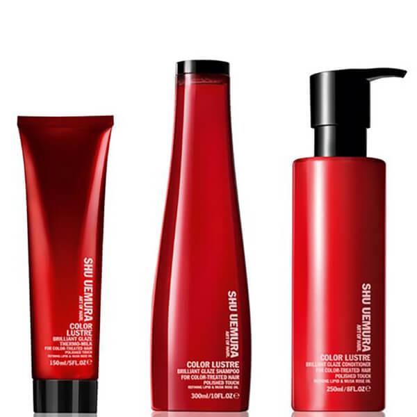 Shu Uemura Art of Hair Color Lustre Sulfate Free Shampoo (300ml), Conditioner (250ml) og Thermo-Milk (150ml)