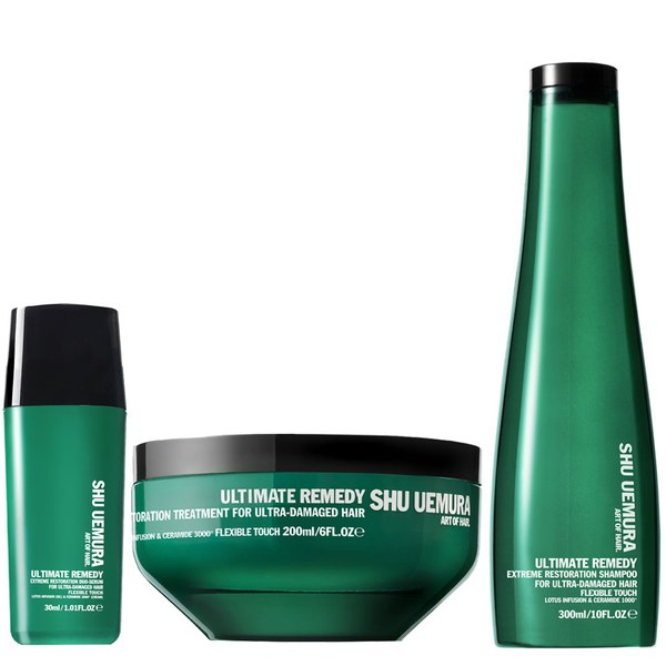 Shu Uemura Art of Hair Ultimate Remedy Shampoo (300ml), Masque (200ml) og Serum (30ml)