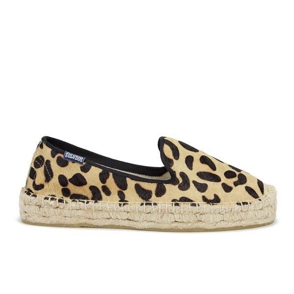 Soludos Women's Calf Hair Platform Espadrille Smoking Slippers - Leopard Print