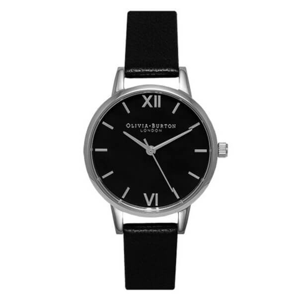 Olivia Burton Women's Midi Watch Black Dial & Silver