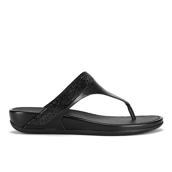 887c30b18568cd FitFlop Women s Banda Micro-Crystal Leather Toe Post Sandals - All Black   Image 1