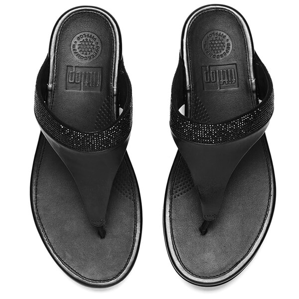 3cf560ff21437a FitFlop Women s Banda Micro-Crystal Leather Toe Post Sandals - All Black   Image 2