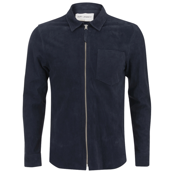 Our Legacy Men's Suede Zip Shirt - Navy