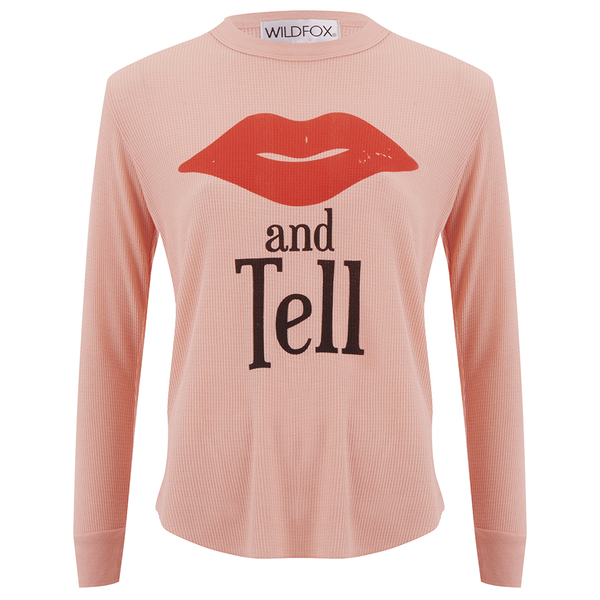 Wildfox Women's Girlfriends T Kiss And Tell Long Sleeve Top - Cotton Candy