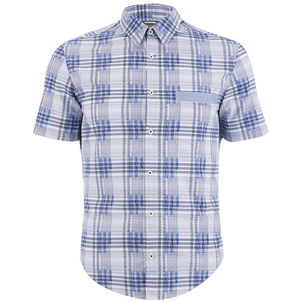 BOSS Green Men's Bicron Check Shirt - Medium Blue