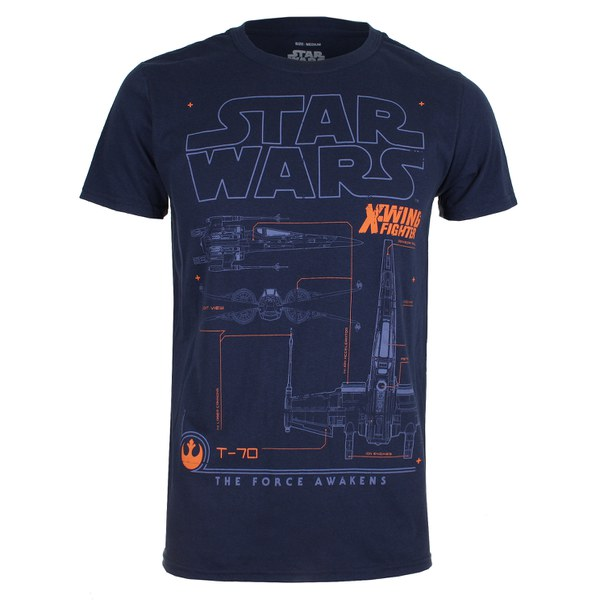 Star Wars Men's X-Wing Schematic T-Shirt - Navy