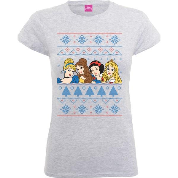 Disney Princess Women S Christmas Faces T Shirt Heather