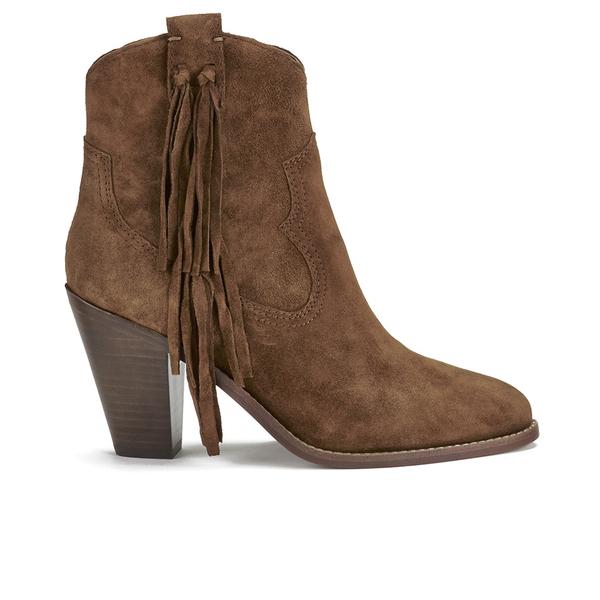 Ash Women's Isha Suede Heeled Cowboy Boots - Sigaro