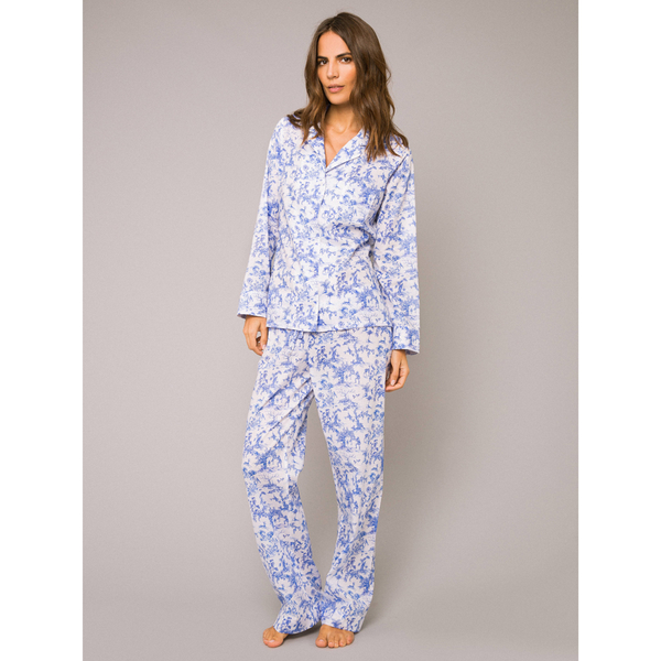 Derek Rose Women s Toile Ladies Pyjama Set - White Cobalt  Image 2 36be73aa7