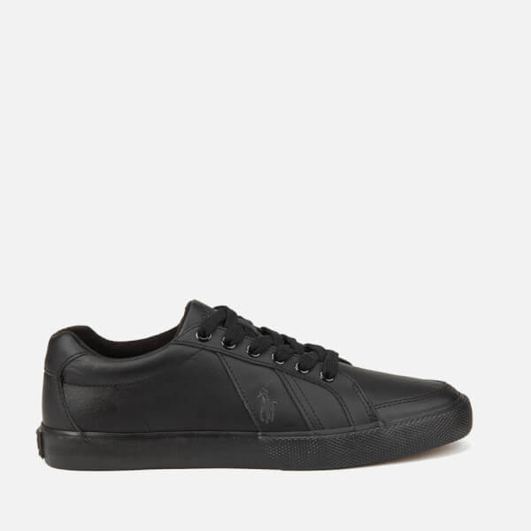 Polo Ralph Lauren Men S Hugh Leather Trainers Black