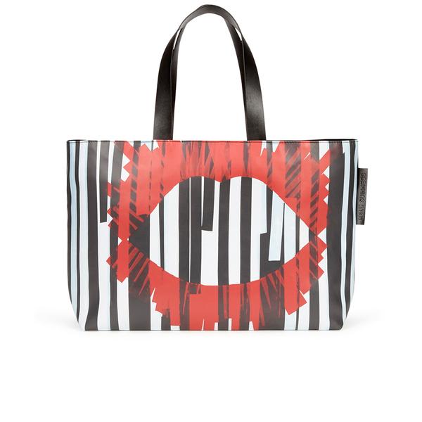 Lulu Guinness Women S Large Stripe Larysa Tote Bag Black White Red Image