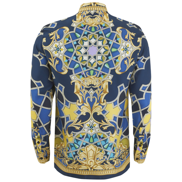 Versace collection men 39 s silk printed shirt blue mens for Blue and white versace shirt