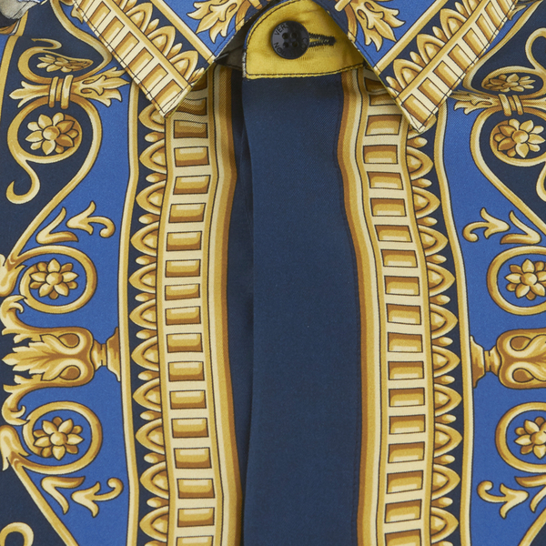 blue and gold versace shirt