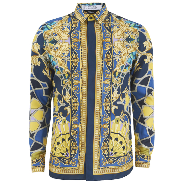 Versace Collection Men's Silk Printed Shirt - Blue