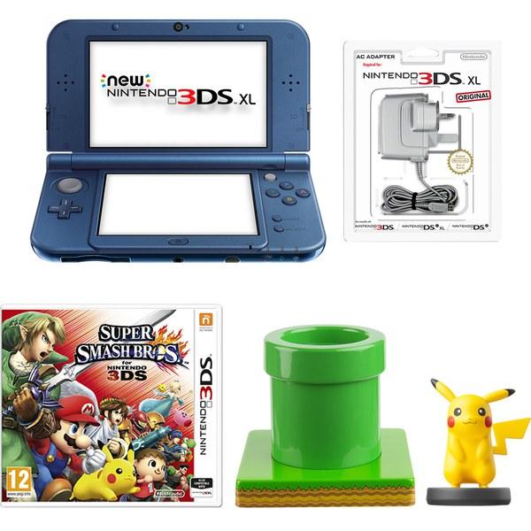 New Nintendo 3DS XL Metallic Blue + Super Smash Bros. + Pikachu amiibo Pack