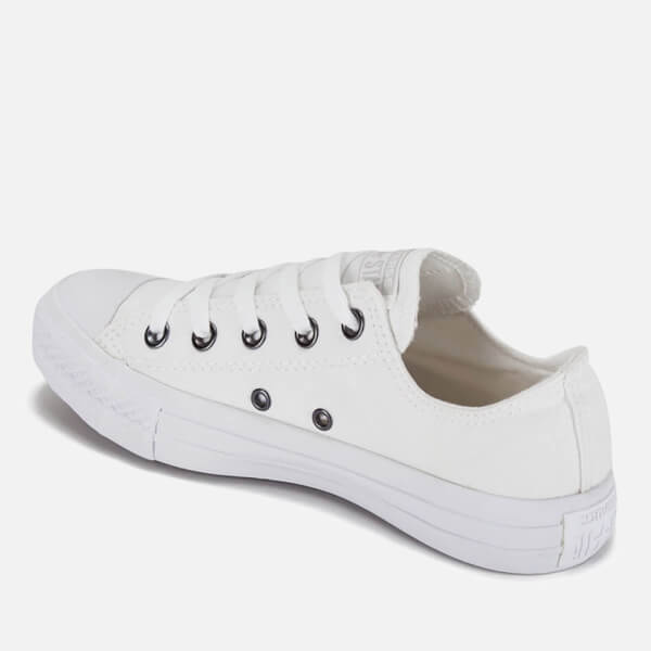 converse unisex. converse unisex chuck taylor all star ox canvas trainers - white monochrome/silver: image