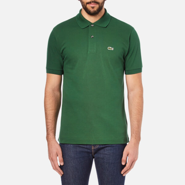Green cotton piqué polo Lacoste