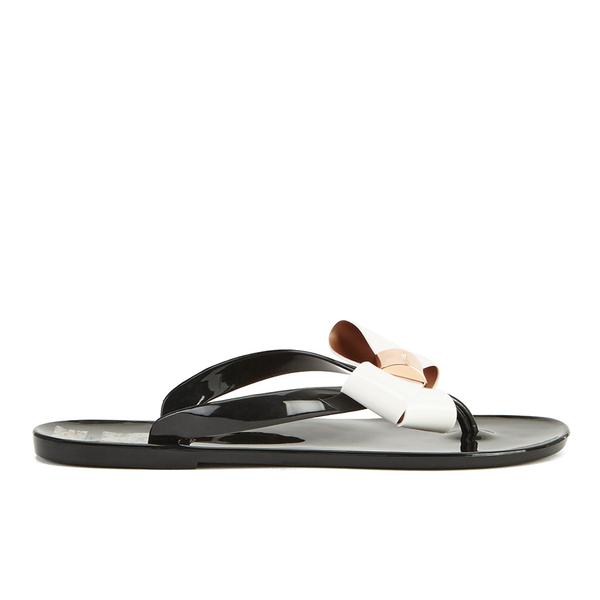 0c8239974 Ted Baker Women s Ettiea Jelly Bow Flip Flops - Black Cream  Image 2