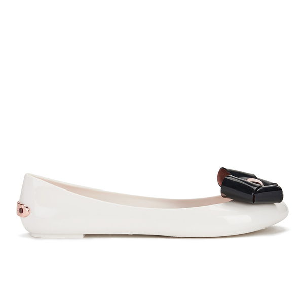 192ac4a5424a Ted Baker Women s Faiyte Jelly Bow Ballet Pumps - Cream Black  Image 1