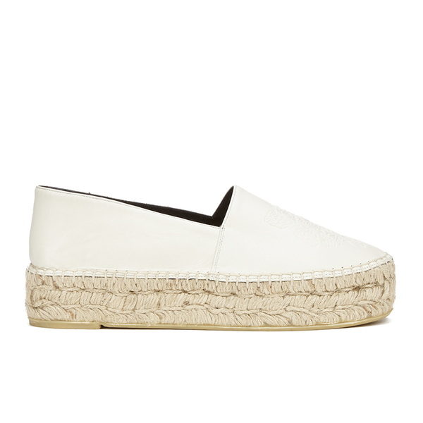 KENZO Women's Tiger Leather Flatform Espadrilles - Cream