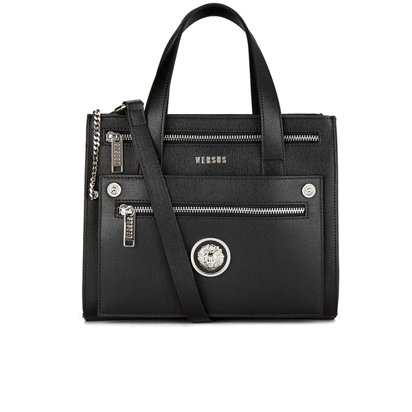 Versus Versace Women's Front Pocket Removable Clutch Tote Bag - Black:  Image 1
