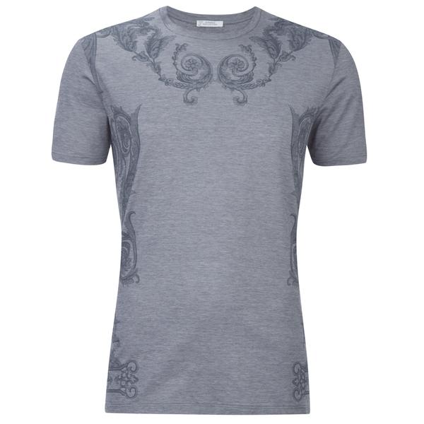 Versace Collection Men's Neck Detail T-Shirt - Grey