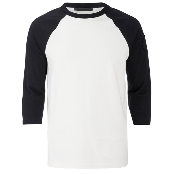Alexander Wang Men's Raw Edge Patched Baseball 3/4 Sleeve T-Shirt - Matrix