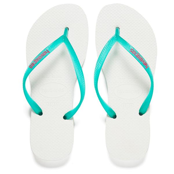 Havaianas Women's Slim Logo Flip Flops - White/Lake Green: Image 1