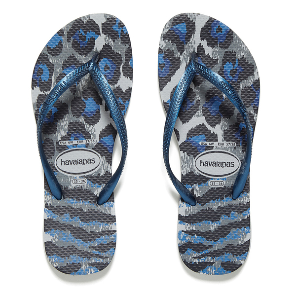 Havaianas Women's Slim Animals Flip Flops  Ice Grey/Navy Blue: Image 1