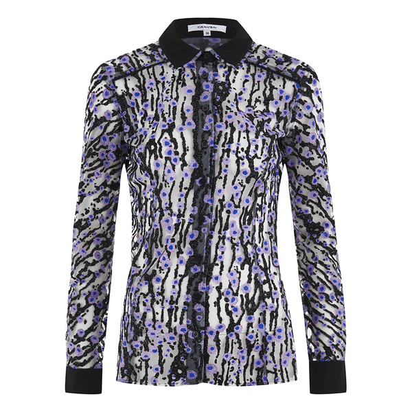 Carven Women's Printed Blouse - Silver/Black/Lilac