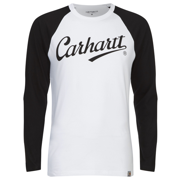 Carhartt men 39 s long sleeve league t shirt white black for Carhartt long sleeve t shirts white
