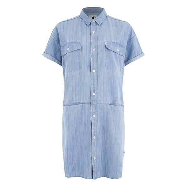 Carhartt Women's Corry Short Sleeved Denim Shirt Dress - Blue Super Bleach