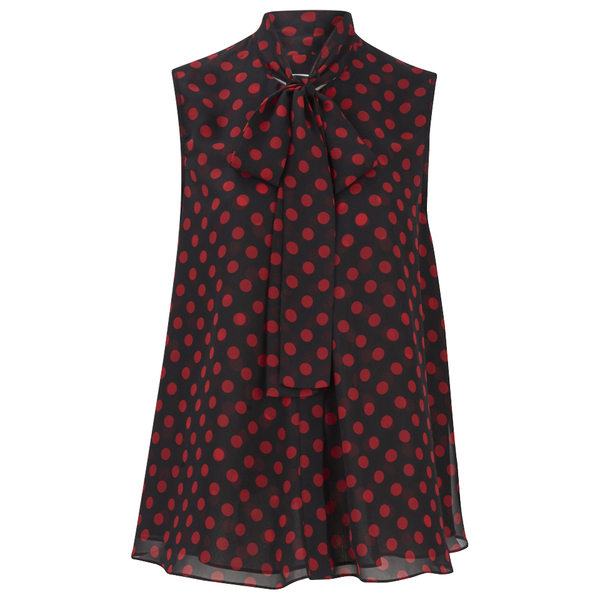 McQ Alexander McQueen Women's Overlocked Pussy Blouse - Red/Black