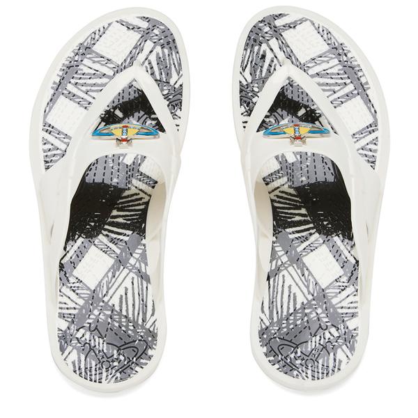 58621c6f99445 Vivienne Westwood MAN Men s Enamelled Orb Flip Flops - Pure White  Image 1