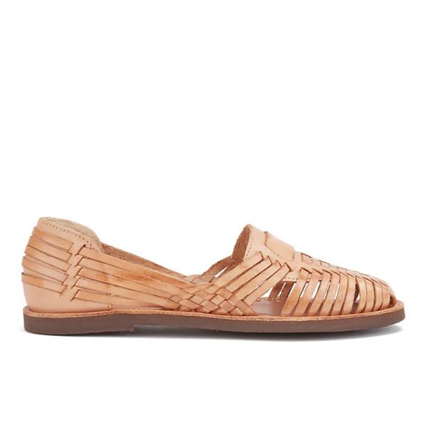 Chamula Women's Brasilia Slip-On Leather Sandals - Natural