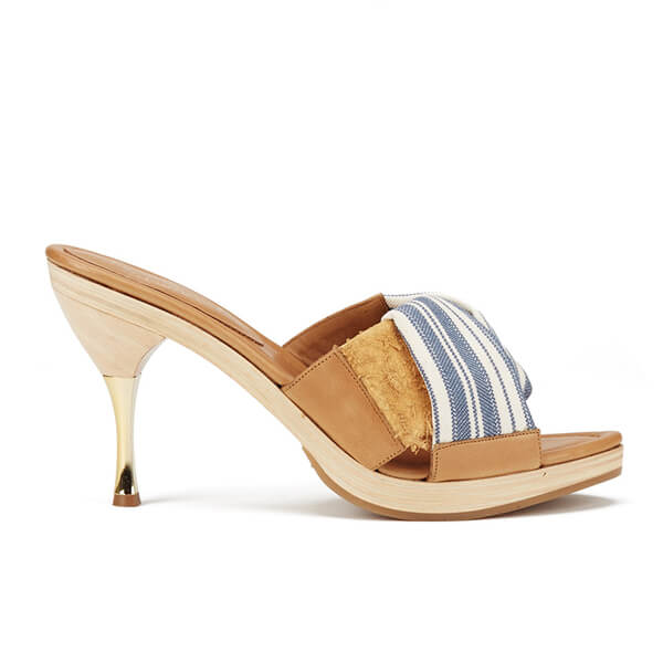 Vivienne Westwood Women's Twisted Mule Heeled Sandals - Cream/Navy