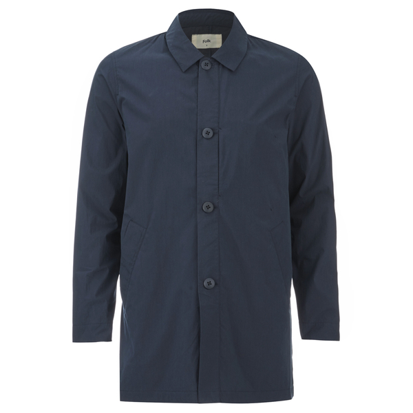 Folk Men's Mid Length Buttoned Jacket - Navy