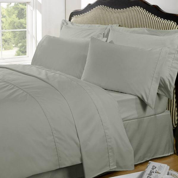 Highams 100% Egyptian Cotton Plain Dyed Fitted Sheet - Silver Grey [China Sizing Only]