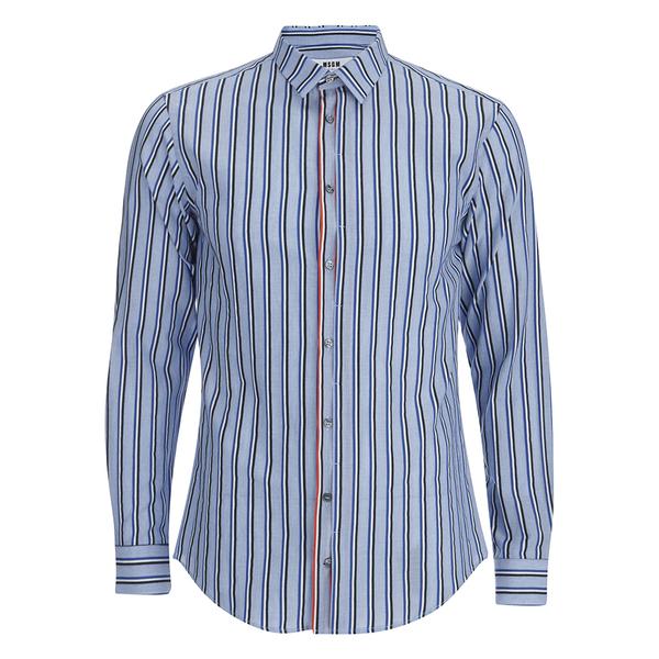 MSGM Men's Striped Long Sleeve Shirt - Blue
