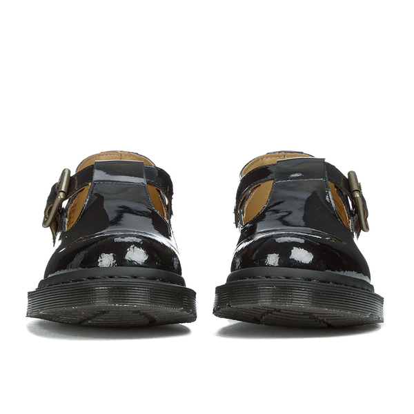 Dr. Martens Women s Polley Patent Lamper T Bar Flat Shoes - Black Patent  Lamper  cff13970f