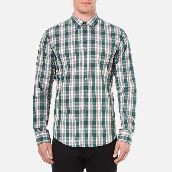 BOSS Orange Men's Edipoe Check Shirt - Green