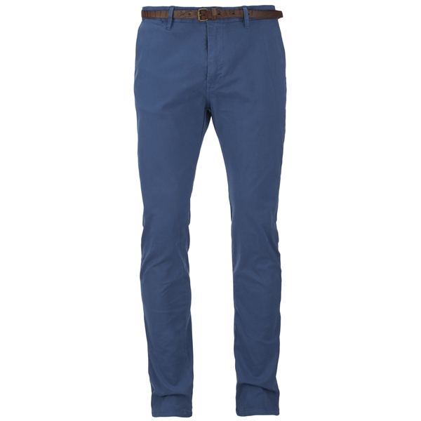 Scotch & Soda Men's Garment Dyed Slim Fit Chinos With Belt - Worker Blue