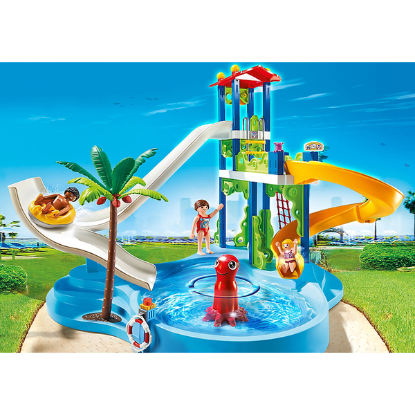 Playmobil summer fun water park with slides 6669 toys for Piscine playmobil